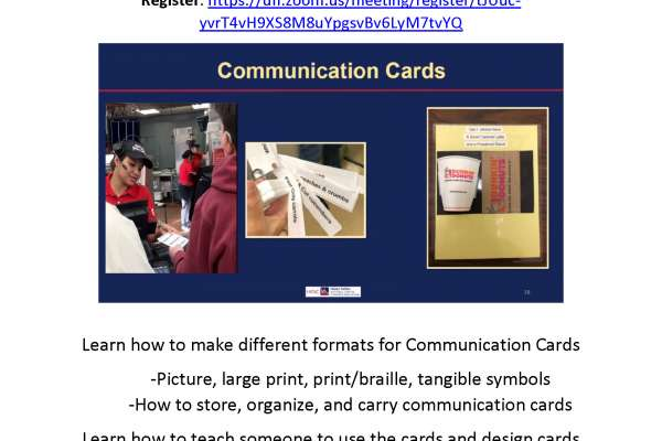 Flyers shows images of communication cards on blue back ground.