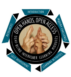 OHOA logo shows photo of two hands surrounded by a black circle with the words open hands open access deaf-blind intervener learning modules