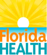 Florida department of health logo shows a sunrise above a blue horizon. Bottom of logo reads Florida health