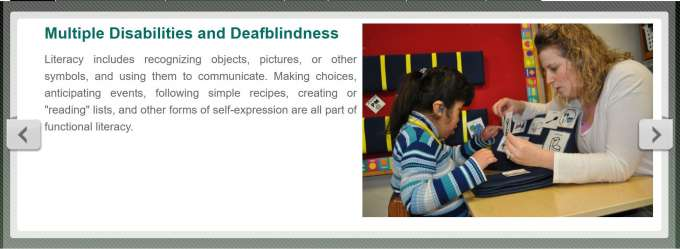 Image of girl with disabilities and an adult showing her picture symbols. Text reads multiple disabilities and deaf-blindness