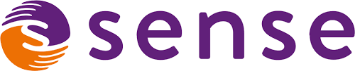logo shows the letter s formed by a purple hand and an orange hand and the word sense in lowercase letters