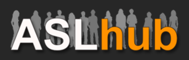 logo shows the words ASL hub in white and orange. Grey silhouettes of people standing are behind the words on a black background