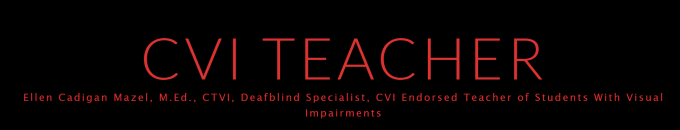 Red letters on black background read CVI Teacher Ellen Cadigan Mazel, M.Ed. CTVI, DeafBlind Specialist, CVI Endorsed Teacher of Students with Visual Impairments