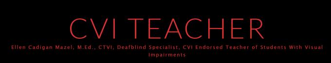 Red letters on black background read CVI Teacher Ellen Cadigan Mazel, M.Ed. CTVI, DeafBlind Specialist, CVI Endorsed Teacher of Students with Visual Impairments