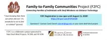 Image of Family-to-Family Communities Project header reads: Connecting families of individuals with deaf-blindness through distance technology, registration is open through August 15, sponsored by state deaf-blind projects, the National Center on Deaf-Blindness, and the National Family Association for Deaf-Blind