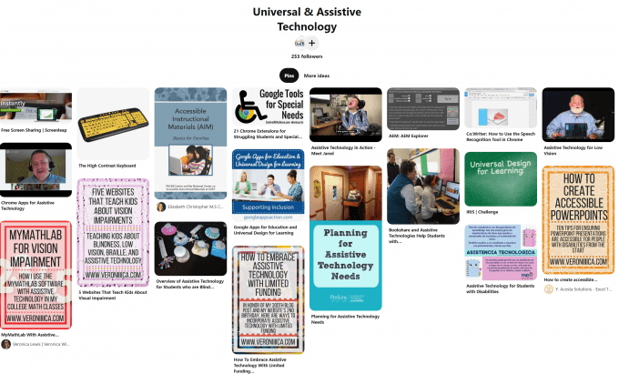 image of FAVI pinterest board called universal and assistive technology