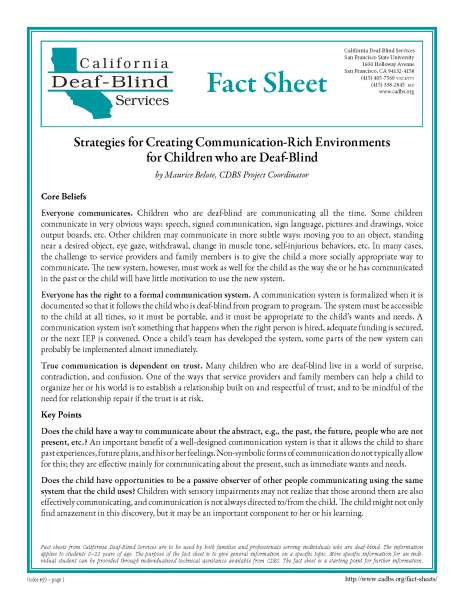 Image of a document.  Header reads California Deaf-Blind Services Fact Sheet.  Title reads Strategies for Creating communication-Rich Environments for Children who are Deaf-Blind