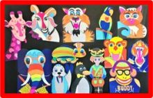 An assortment of brightly-colored paper animals is displayed on a black background.