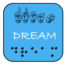 Image shows hands fingerspelling DREAM, as well as Braille cells spelling DREAM, on a blue background